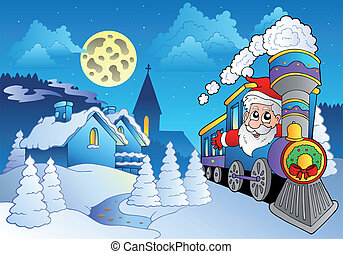 Santa on train near small village - vector illustration.