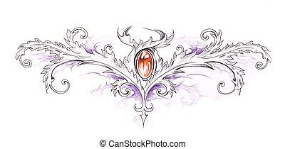 Sketch of tattoo art, tribal decorative design