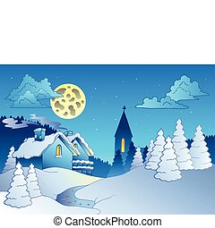 Small village in winter - vector illustration