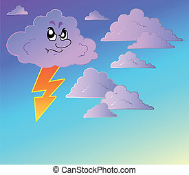 Stormy sky with cartoon clouds - vector illustration