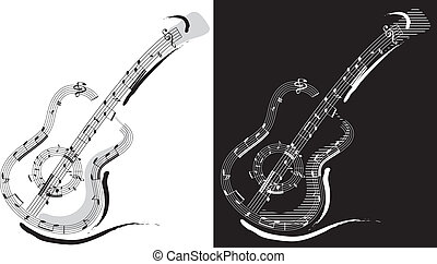 Guitar emblem isolated on white and black backgrounds