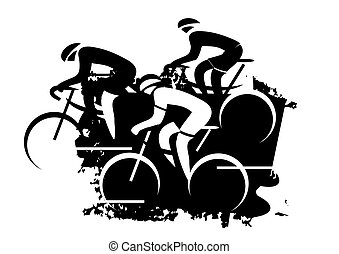 Road Cyclist grunge stylized - Black expressive drawing of...