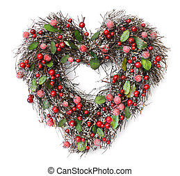Heart shaped Christmas garland with red berries and green...