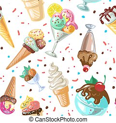 Icecream seamless pattern design vector isolated on white -...