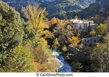 village in Cevennes - typical village in Cevennes Mountains...