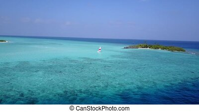 v05601 Aerial flying drone view of Maldives white sandy...