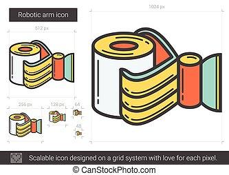 Robotic arm line icon. - Robotic arm vector line icon...