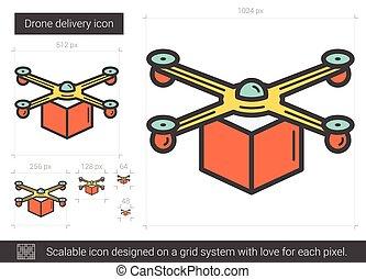 Drone delivery line icon. - Drone delivery vector line icon...