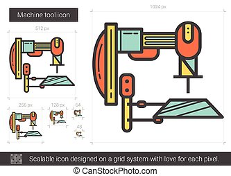 Machine tool line icon. - Machine tool vector line icon...