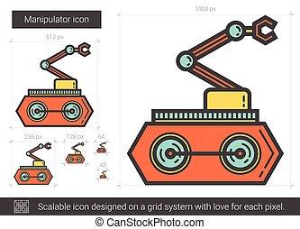 Manipulator line icon. - Manipulator vector line icon...