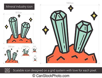 Mineral industry line icon. - Mineral industry vector line...