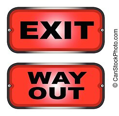 Red EXIT and WAY OUT sign - Two warning lights, one 'EXIT',...