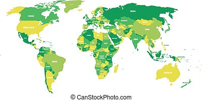 Political map of World in green scheme with country name labels. Isolated on white background. Vector illustration