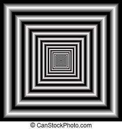 túnel, óptico, ilusión