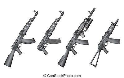 russian gun - machine gun isolated on the white background