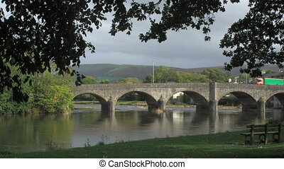 Time lapse Builth bridge. - Timelapse Bridge over the river...