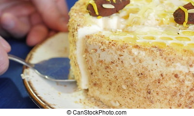 Female hands takes the piece of cake on the blade. Woman holding piece of cake on the blade. Piece of cake with honey cream on the blade. Close up
