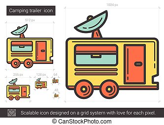 Camping trailer line icon.