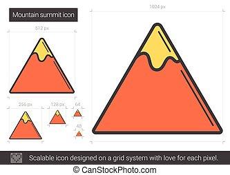 Mountain summit line icon. - Mountain summit vector line...