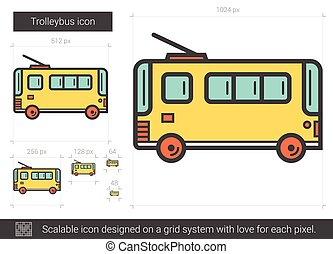 Trolleybus line icon. - Trolleybus vector line icon isolated...