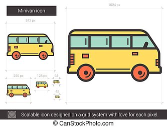 Minivan line icon. - Minivan vector line icon isolated on...