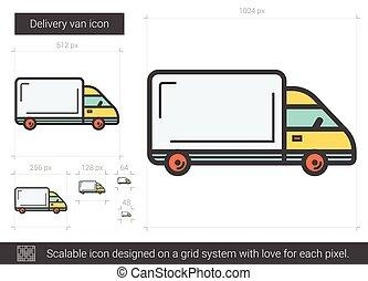 Delivery van line icon. - Delivery van vector line icon...