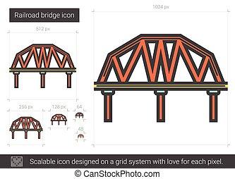 Railroad bridge line icon. - Railroad bridge vector line...