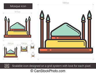 Mosque line icon. - Mosque vector line icon isolated on...