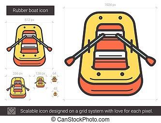 Rubber boat line icon. - Rubber boat vector line icon...