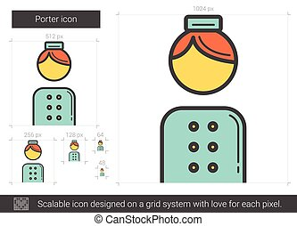Porter line icon. - Porter vector line icon isolated on...
