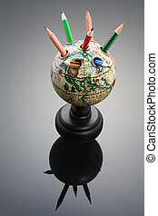 Antique Globe Pen Holder