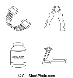 Protein, expander and other equipment for training.Gym and...