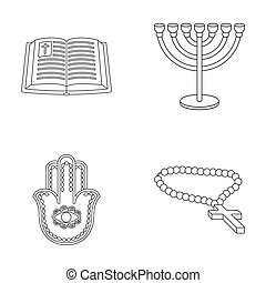 Bible, menorah, hamsa, orthodox cross.Religion set...