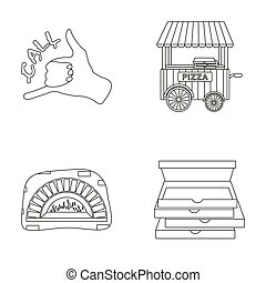 Order pizza gesture, box for pizza, oven, trailer. Pizza and pizzeria set collection icons in outline style raster, bitmap symbol stock illustration web.