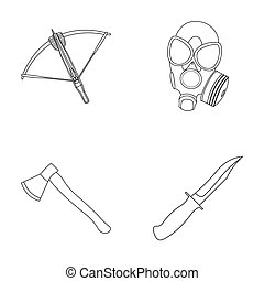 Crossbow, gas mask, ax, combat knife. Weapons set collection...
