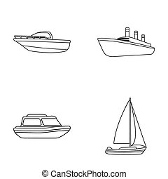 Protection boat, lifeboat, cargo steamer, sports yacht.Ships and water transport set collection icons in monocrome style raster, bitmap symbol stock illustration web.
