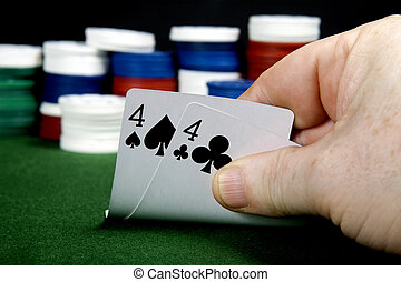 Fours - Pair of fours at poker (From a series of poker...