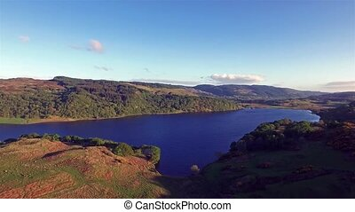 Beautiful aerial of the highland hills close to Oban,...