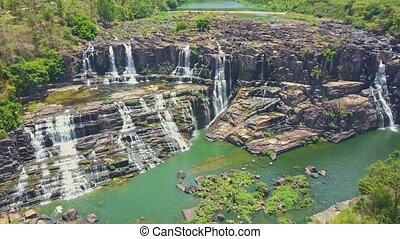 Aerial View Waterfalls Cascade with River Rapids