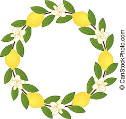 Vector Wreath with Lemons and Flowers. Lemon Vector Illustration.