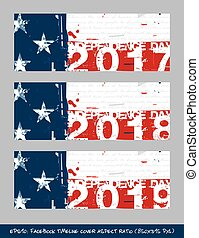 American Flag Independence day timeline cover - Artistic Brush Strokes and Splashes
