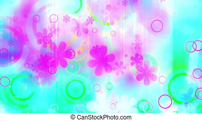 Summer fun colored retro flowers and shapes looping abstraction animated background