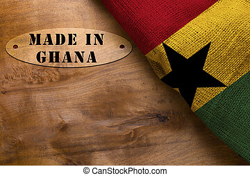 Stamp Made in Ghana, poster with the national flag of Ghana.