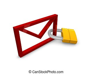 eMail locked - 3D rendering, graphic concept email with...