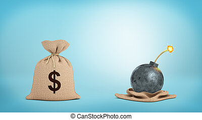 3d rendering of a brown hessian money bag with a dollar sign...
