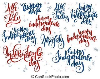 Vector independence day hand lettering set of greetings labels with doodle stars