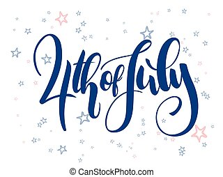 Vector independence day hand lettering greetings label - 4th of july - with doodle stars