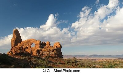 Arches National Park - Time lapse clouds over Arches...