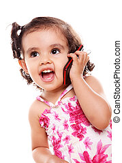 Mobile phone - Little girl speaking by cell phone, white...