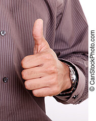 Ok - Hand of a man expressing positivity, white background